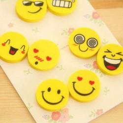 笑臉橡皮擦4枚入 可愛創意表情橡皮擦