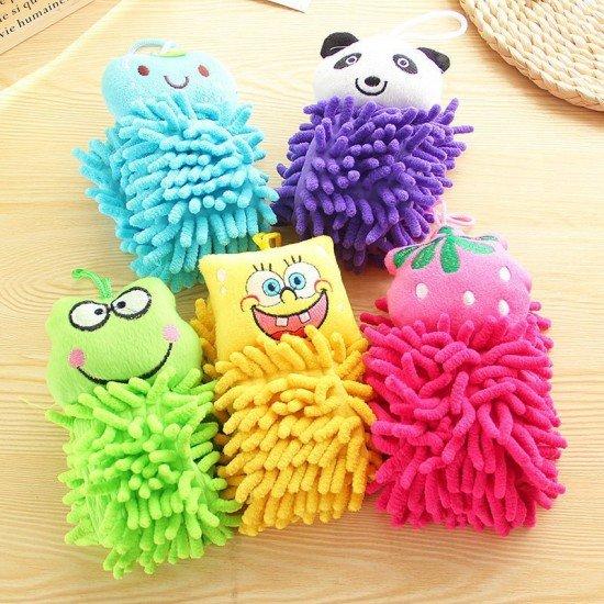可愛動物擦手巾 雪尼爾擦手巾 掛式超細纖維擦手巾