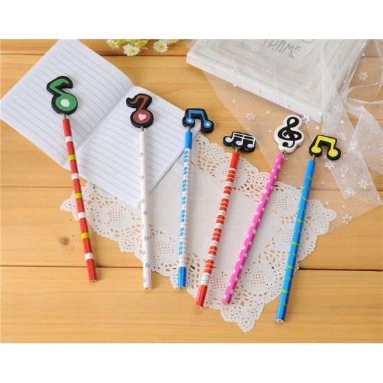 (6入)音符木製鉛筆 韓國文具可愛多色