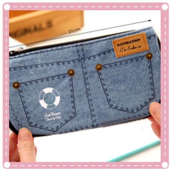 可愛牛仔褲造型筆袋 帆布化妝包 大容量 零錢包