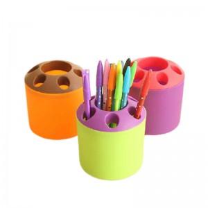 撞色多功能牙刷牙膏座 收納桶 桌面筆筒 文具收納