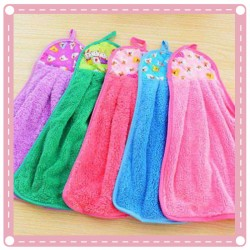 強力吸水擦手巾 不沾油廚房抹布 珊瑚絨掛式毛巾