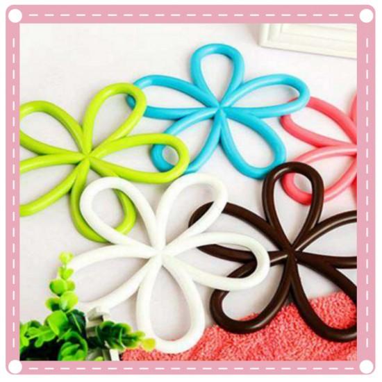 花朵造形隔熱墊 防滑PVC鍋墊 廚房碗盤餐墊