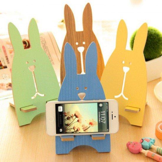 可愛兔子木質手機支架 木製手機托架
