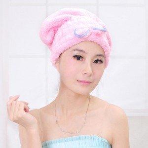 超強吸水乾髮帽 快速乾髮巾浴帽 可愛蝴蝶結加厚包頭巾
