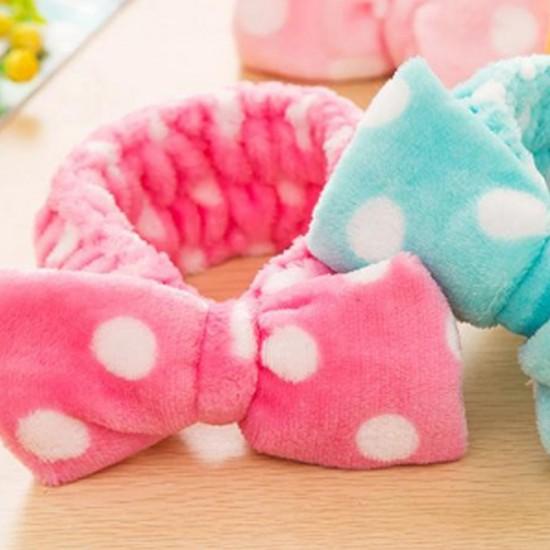 可愛蝴蝶結束髮帶 珊瑚絨化妝束髮巾