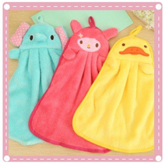 可愛動物珊瑚絨擦手巾 廚房掛式抹布