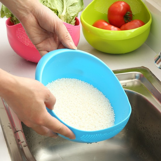 塑膠瀝水洗菜籃 洗菜洗米濾水盆 洗米篩米盆