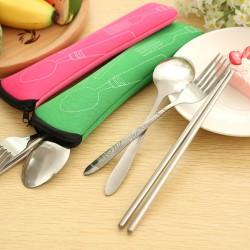 不鏽鋼環保餐具組 筷子+湯匙+叉子 三件組