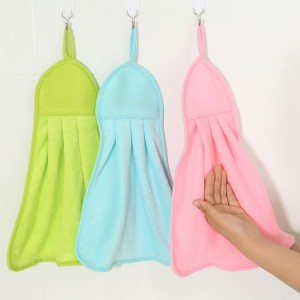 素色可掛式擦手巾 超強吸水珊瑚絨抹布 糖果色毛巾