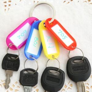 (10入)彩色鑰匙分類環 塑膠鑰匙牌 標籤牌 鑰匙圈 吊牌