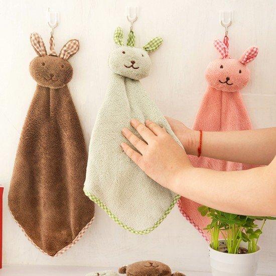 可愛兔子擦手巾 廚房浴室掛式擦手巾 珊瑚絨擦手巾 毛巾