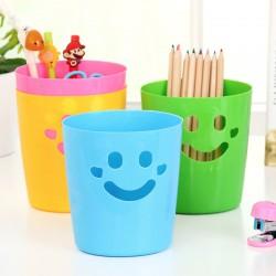 可愛笑臉桌面收納桶 迷你垃圾桶 筆筒