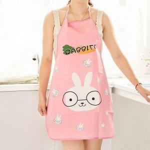 PVC防水防汙圍裙 可愛防油無袖圍裙 卡通廚房半身圍裙
