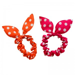 (5入)可愛兔耳朵大腸髮圈 創意點點小碎花髮圈 手環