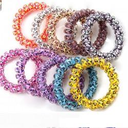 (5入)彩色電話線髮圈 多色圖案電話線手環 電話線髮束