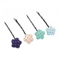 點點格子造型一字髮夾 4入裝 可愛星星布包扣夾