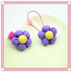 糖果色立體花朵髮圈 造型花朵髮夾