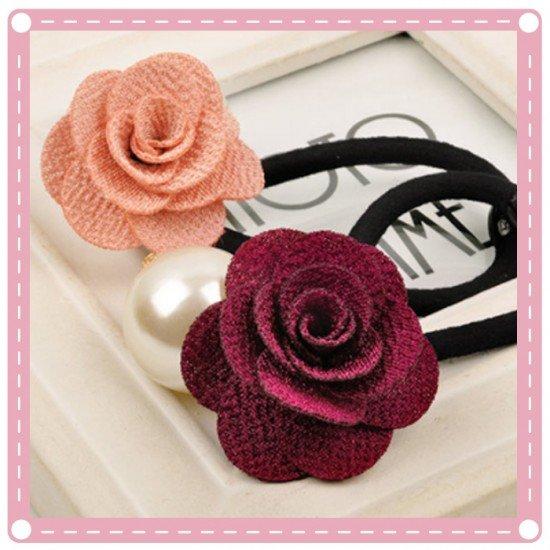 質感珍珠玫瑰花髮圈 氣質髮束