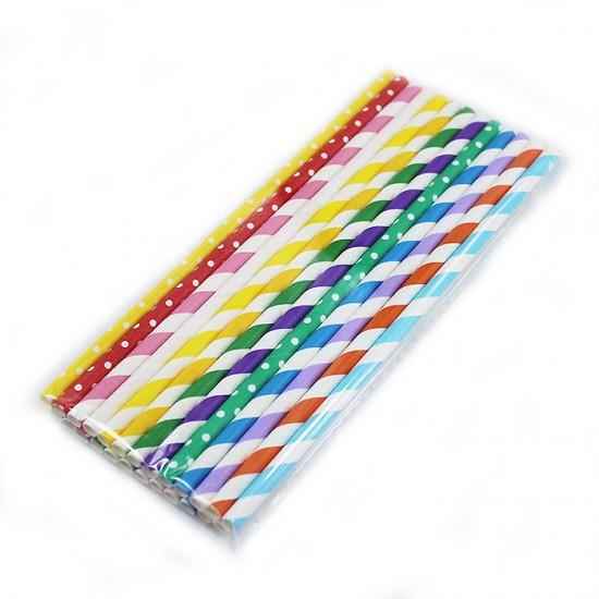 彩色條紋紙吸管25支入 紙吸管