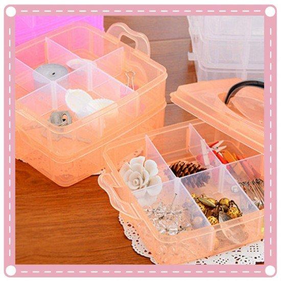 可拆式三層透明收納盒  透明工具盒 小物收納盒