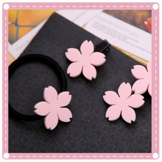 (10入)甜美櫻花一字夾 髮束 BB夾 鴨嘴夾 髮夾 櫻花髮圈 飾品 橡皮筋 髮飾
