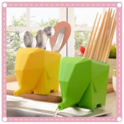 可愛大象牙刷 餐具收納杯 筆筒 花盆 筷架 匙筒 廚房收納餐具收納 浴室收納