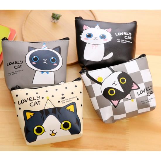 創意可愛小貓咪零錢包 卡通PU材質收納包 鑰匙包