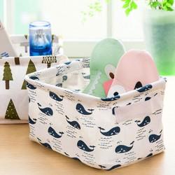 可愛動物棉麻收納盒 有提把 清新桌面雜物籃 櫥櫃 小衣物 布藝收納籃