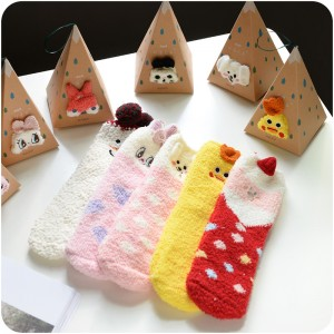 刺繡立體家居珊瑚絨卡通襪 盒裝地板襪 半邊絨女襪 聖誕襪