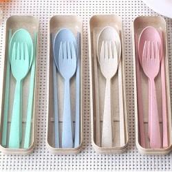 小麥餐具三件組 創意環保餐具組 隨身餐具組