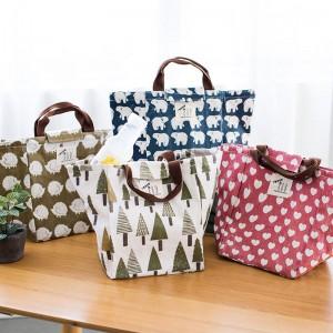 可愛動物布藝便當袋 清新帆布手提袋 保溫包 收納包 萬用包 水餃包