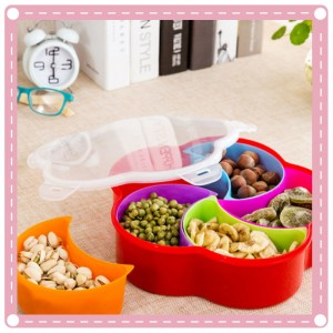 創意扣扣糖果盤 糖果盒 梅花瓜子盒 果乾密封盒 創意保鮮盤 防潮零食盒