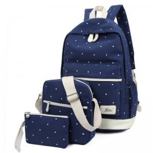 學院風 帆布雙肩背包 三件組 圓點印花帆布後背包 動物印花後背包