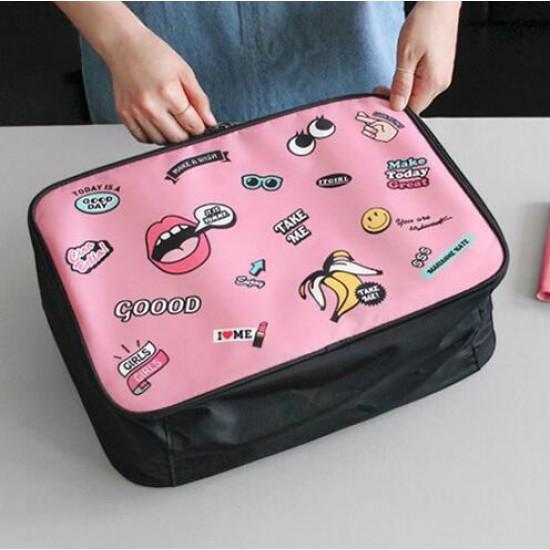 可愛手提旅行收納包 登機包 大號行李衣物拉桿箱