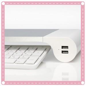 電腦液晶螢幕增高架底座托架 USB充電多功能桌面鍵盤收納架