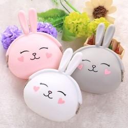 兔子矽膠零錢包 隨身鑰匙包 糖果色收納包