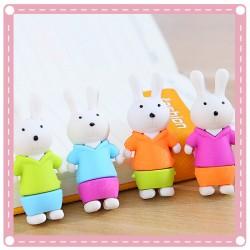 可愛兔子橡皮擦 立體動物橡皮擦 可站立造型擦子