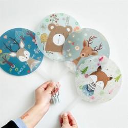 可愛動物手搖扇 隨身塑膠扇子 涼涼夏日圓扇 隨身清涼小物