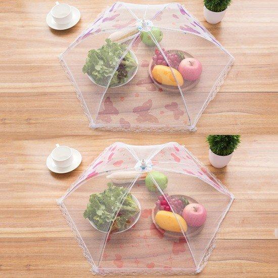 廚房蕾絲網紗折疊食物罩 防蟲餐桌罩飯菜罩