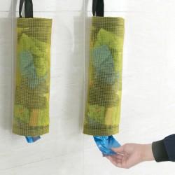 廚房吊掛式收納袋 透明網格環保塑膠袋 購物袋儲物抽取袋