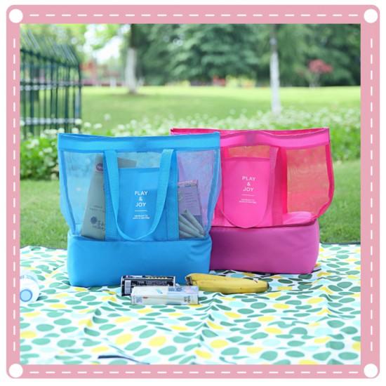 手提保溫袋 雙層野餐包 運動網格收納包 冰袋收納袋