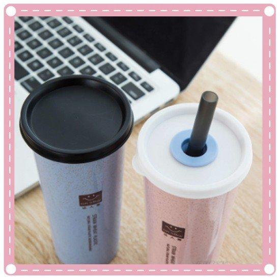 小麥雙蓋隨手杯 小麥帶吸管杯 水杯 創意單層杯 密封杯