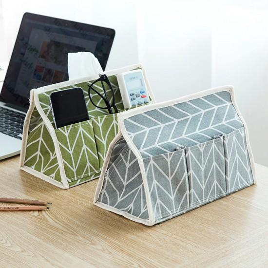 家居創意棉麻布藝紙巾盒 多功能六袋抽取式面紙盒 桌面收納盒