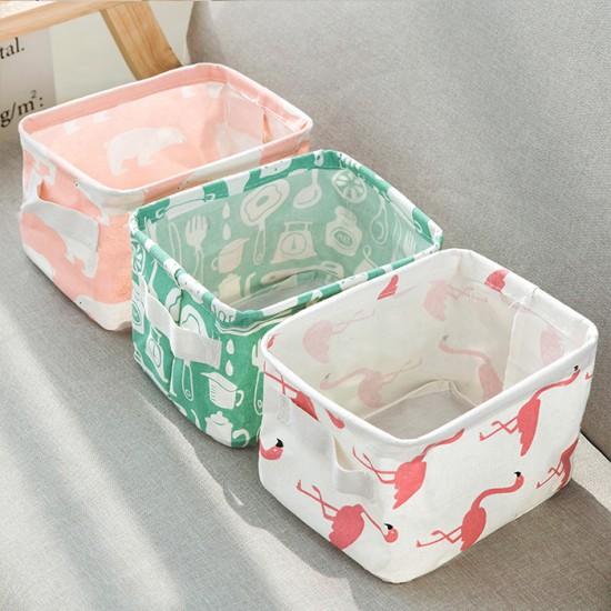 清新棉麻提手桌面雜物籃 收納盒 櫥櫃衣物布藝收納籃