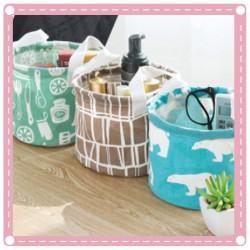 清新棉麻雜物收納儲物籃 桌面簡約收納盒 手提布藝收納籃
