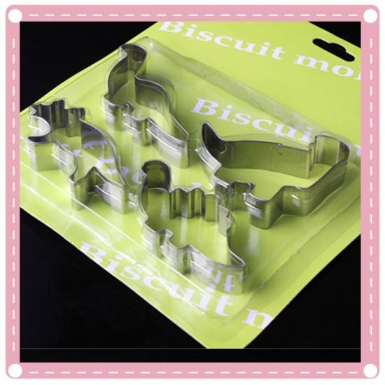 不銹鋼恐龍餅乾模 創意動物水果切模器 4入裝 DIY 烘焙工具