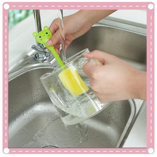 可愛動物不傷手強力去污洗杯刷 廚房海綿刷清潔刷 奶瓶刷