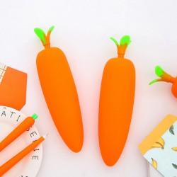 創意紅蘿蔔筆袋 學生大容量鉛筆盒 可愛矽膠筆袋