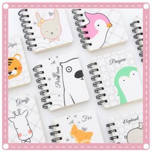 可愛動物卡通線圈本 隨身迷你筆記本 口袋記事本